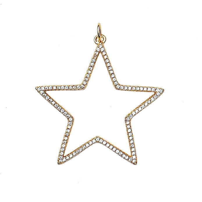 gold open star pendant