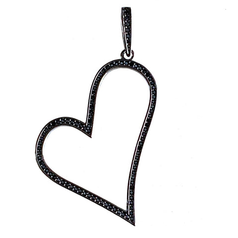 black open sideways heart pendant