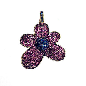 pink and blue cz flower