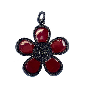 red enamel flower - black
