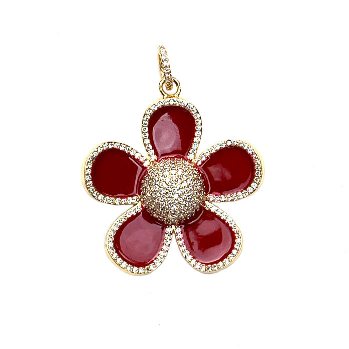 red enamel flower - gold