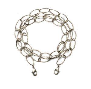 mask chain - antique silver oval