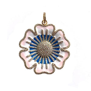 white enamel flower - gold