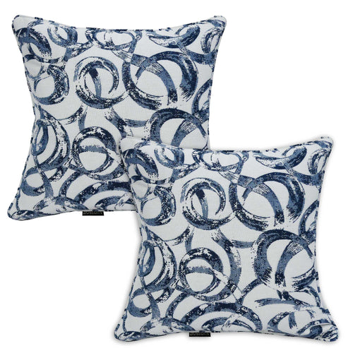 Set of 2 Bossima Blue Circle Outdoor Sunbrella Scatter Cushions