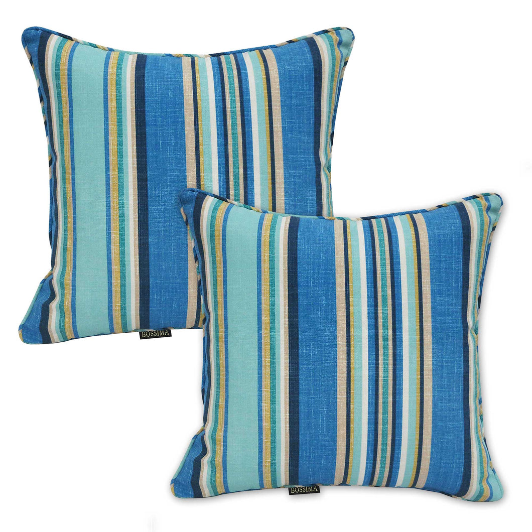 Set of 2 Blue Striped Outdoor Waterproof Scatter Cushion Pads