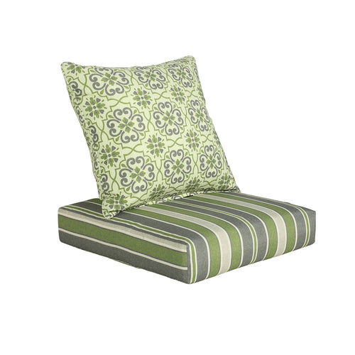 Outdoor Green Floral Back Pillow + Green Striped Seat Pad