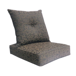 Gala Deep Seat Cushion with Button Set - Black Floral