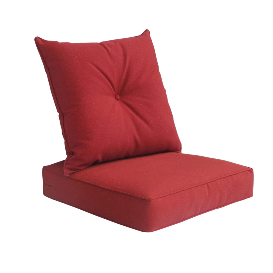 Outdoor Deep Seat Cushion with Button Set - Red