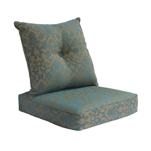 Outdoor Deep Seat Cushion with Button Set - Blue Damask