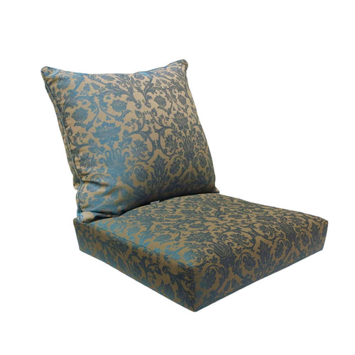 Outdoor Deep Seat Cushion Back & Seat Pad Set - Blue Damask