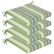 Sage Outdoor Seat Pad Cushions - Green Striped ( Sets of 4 )