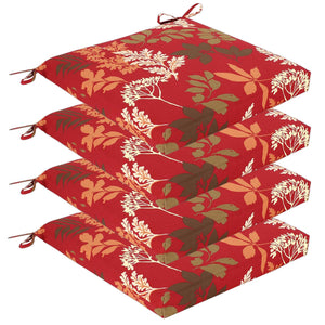 Elm Outdoor Seat Pad Cushions - Red Floral ( Sets of 4 )