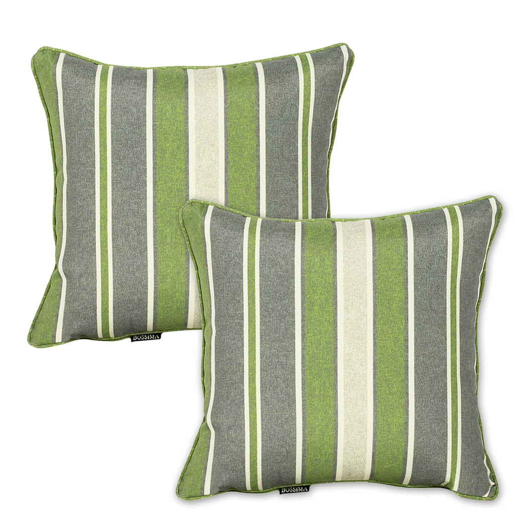 Set of 2 Green Striped Outdoor Waterproof Scatter Cushion Pads