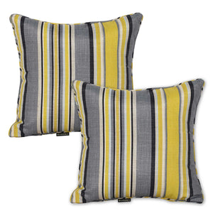 Set of 2 Yellow&Grey Striped Outdoor Waterproof Scatter Cushion Pads