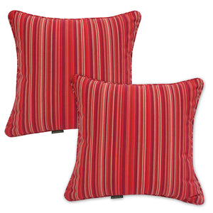 Set of 2 Red Striped Outdoor Sunbrella Scatter Cushions