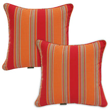 Set of 2 Orange Red Striped Outdoor Sunbrella Cushion Pads