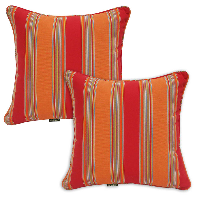 Set of 2 Orange Red Striped Outdoor Sunbrella Scatter Cushions