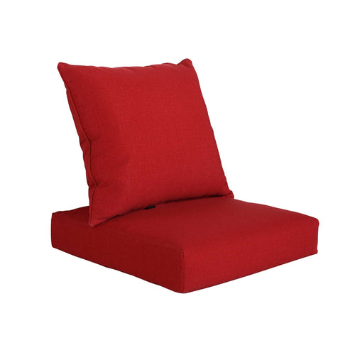 Bossima Deep Seat Cushion Back & Seat Pad Set - Red