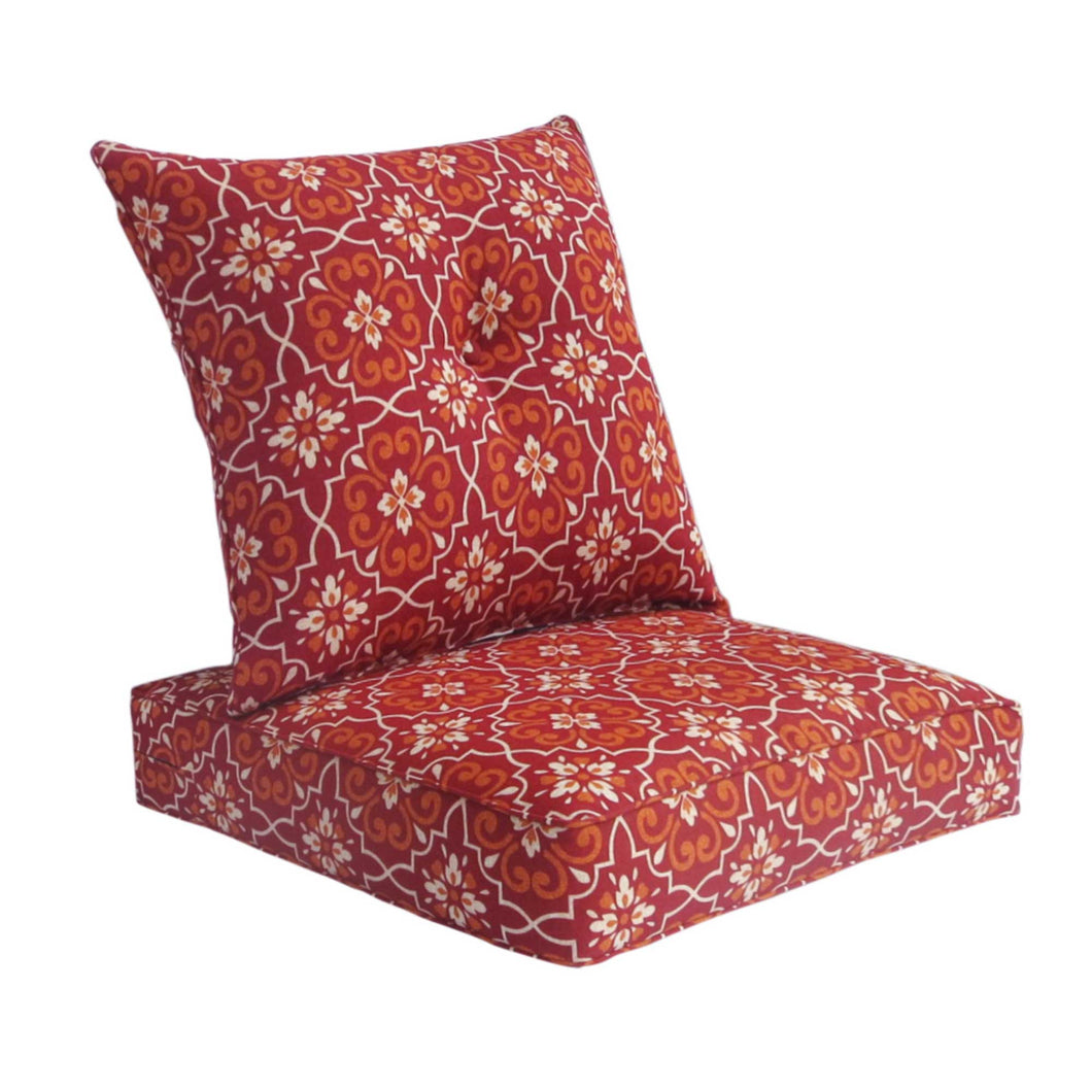 Bossima Australia Outdoor Cushion with Button Set - Red Damask