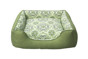 Belle Reversible Dog Bed Cushion Green Damask