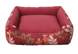 Belle Reversible Pet Bed Cushion Red Floral / Solid Red