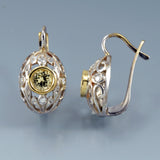 Yellow sapphire earrings antique 1