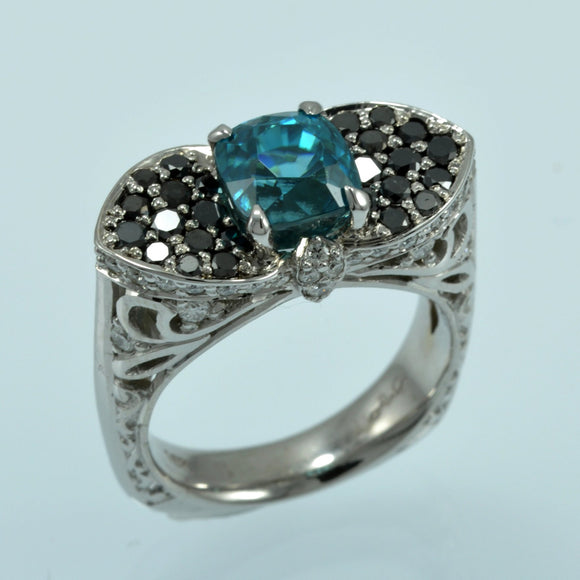 Blue Zircon balck diamond ring