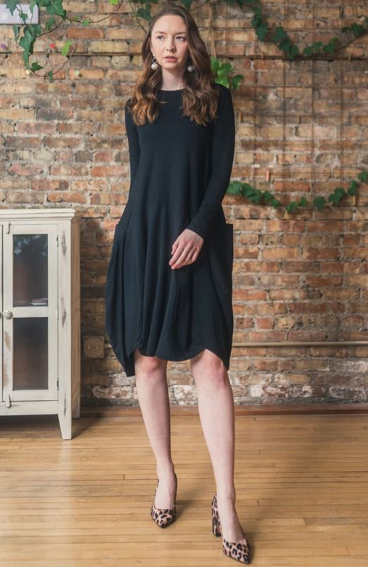 APPARALEL JERSEY KNIT DRESS W POCKETS