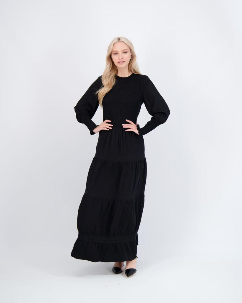 LEVEL SMOCKED MAXI DRESS