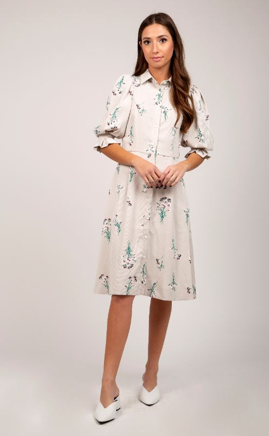 MAPLE & CLIFF BALLOON SLEEVE FLORAL DRESS