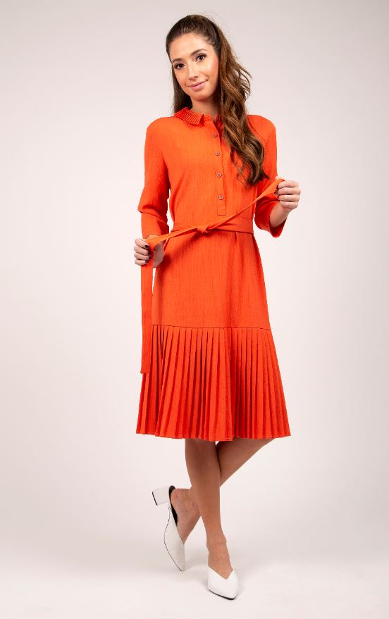 MAPLE & CLIFF PLEATED COLLAR DRESS