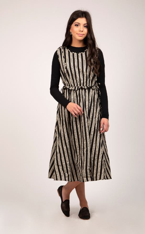 MAPLE & CLIFF STRIPED MIDI JUMPER