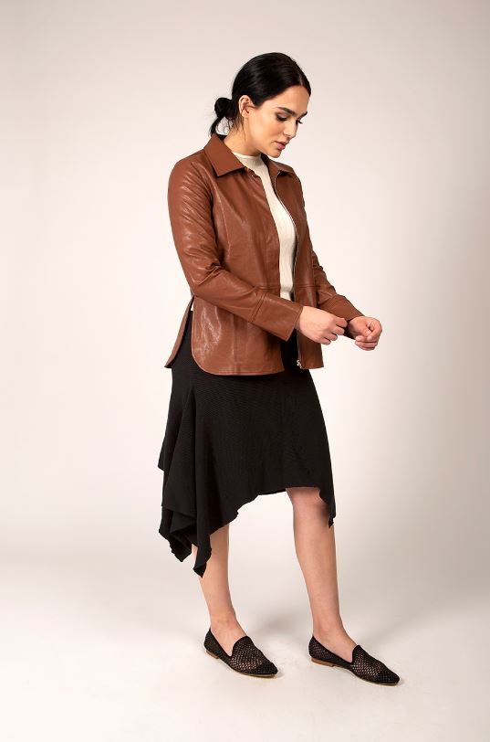 MAPLE & CLIFF LEATHER ZIP FRONT JACKET