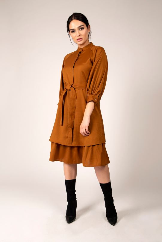MAPLE & CLIFF BUTTON FRONT LAYER DRESS
