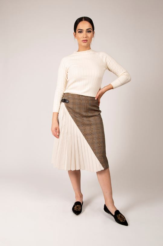 MAPLE & CLIFF BUCKLED SIDE-PLEAT SKIRT