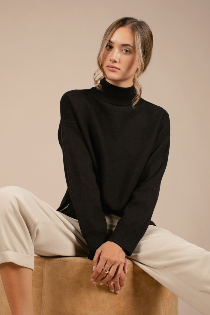 ALL ROW CHUNKY MOCK NECK SWEATER