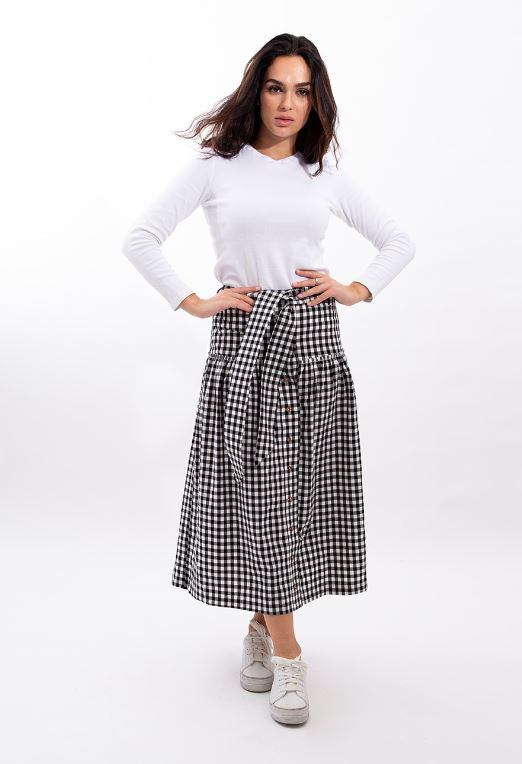 STATIC GINGHAM BELTED MIDI SKIRT