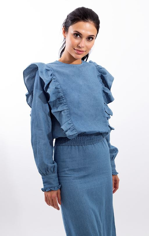 STATIC RUFFLE DETAILED TOP