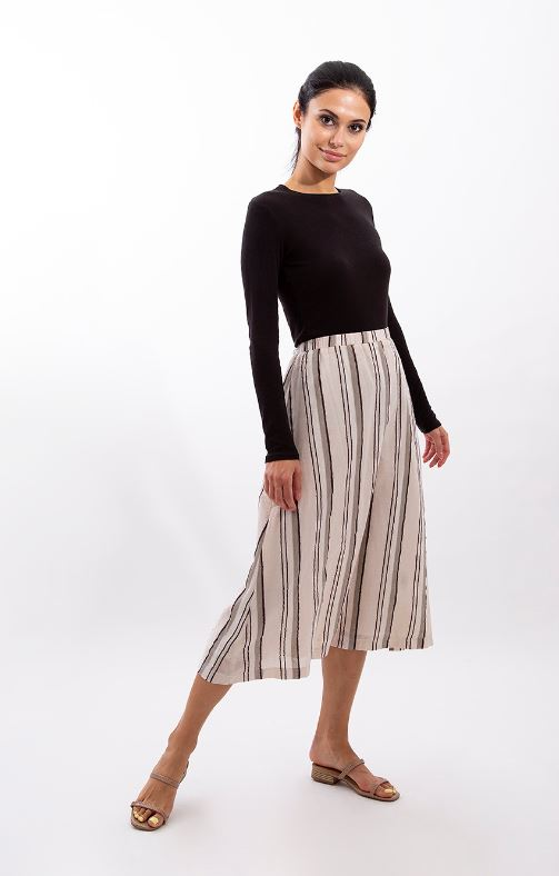 STATIC MULTI STRIPED MIDI SKIRT