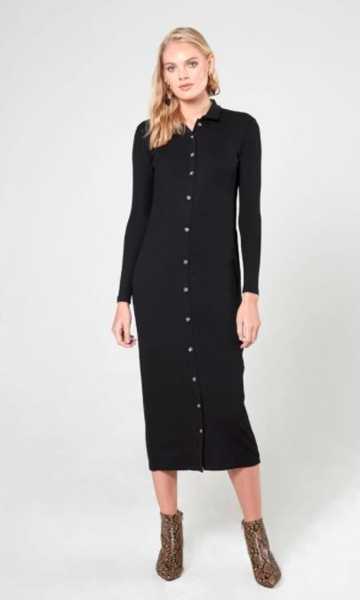 THIRD RIBBED SHIRTDRESS