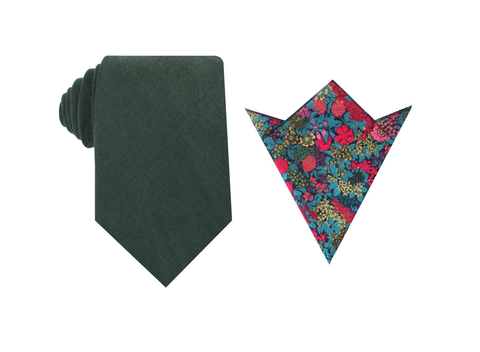OTAA Dusty Emerald Green Linen Tie Set