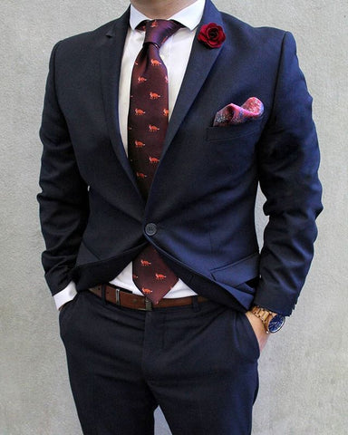 OTAA Burgundy Fox Tie Set