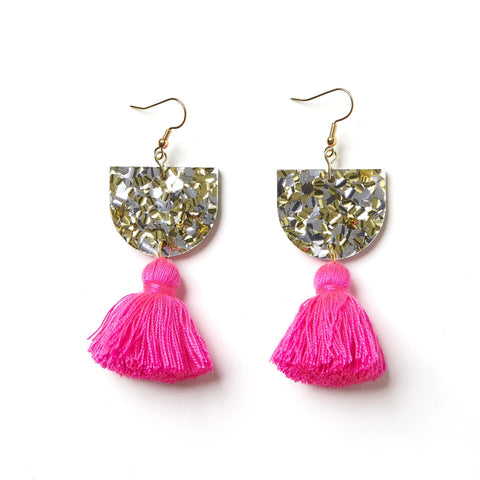 EMELDO DESIGN Annie Earring gold silver with barbie pink