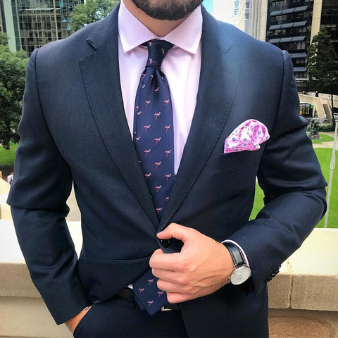 OTAA Navy Flamingo Tie Set