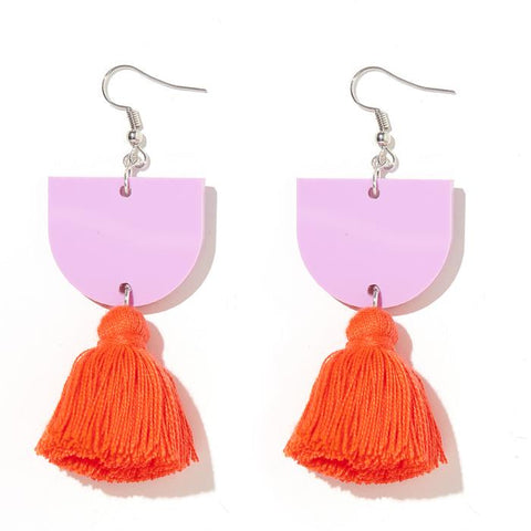 EMELDO DESIGN Annie Earring lavender with neon orange/red