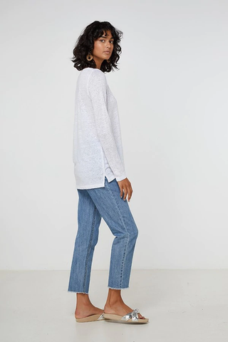 ELKA COLLECTIVE EC Linen Long Sleeve Tee white