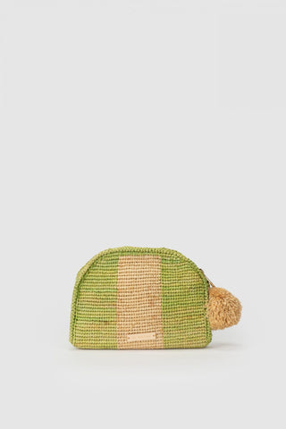 THE WOLF GANG Bolso Raffia Stripe Clutch lime