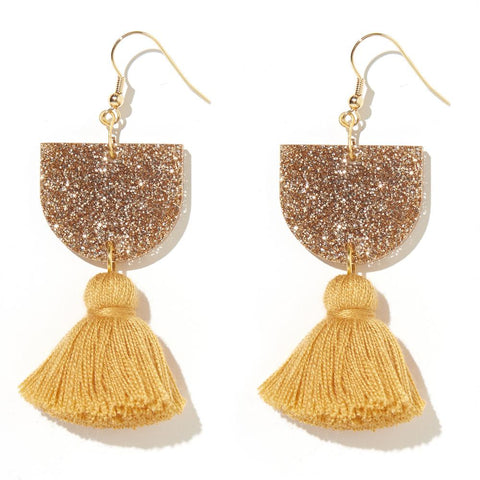 EMELDO DESIGN Annie Earring gold glitter and mustard