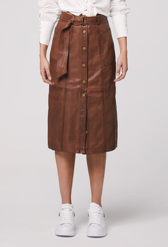 ONCE WAS Oakley Washed Leather Midi Skirt desert