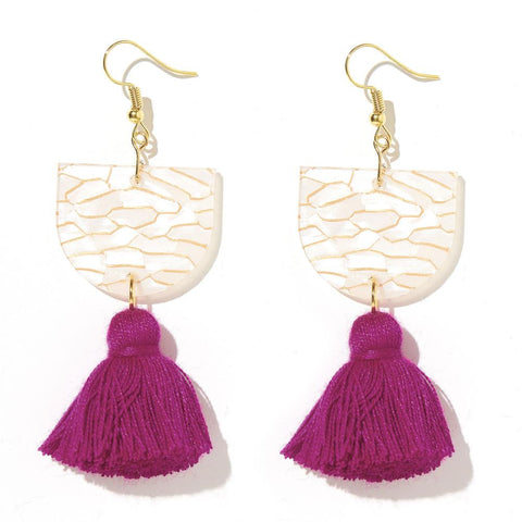 EMELDO DESIGN Annie Earring cream gold tiger with magenta